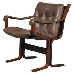Midcentury Norwegian Ingmar Relling Westnofa 'Siesta' Leather Lounge Chair