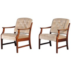 Pair of Two Danish Midcentury Modern Arm Dining Chairs, 1960s