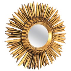 Mini Sized Carved Giltwood Convex Sunburst Mirror, France, 1940s
