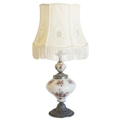 Midcentury Hand Painted Porcelain Table Lamp with Hand Embroidered Linen Shade