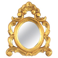 Petite Rococo Style Carved and Giltwood Mirror, Spain, 1930s