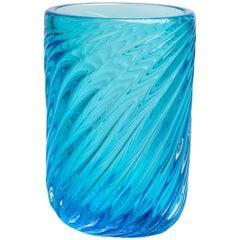 Yali Murano Hand Blown Fiori Ritorto Vase Giant Light Blue