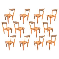 Guillerme et Chambron, Rare Set of Twelve Dining Chairs in Solid Oak