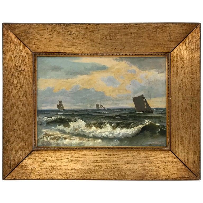 """Christian Frederik Emil Eckardt """"Sailing Ships,"""" 1880s For Sale"""