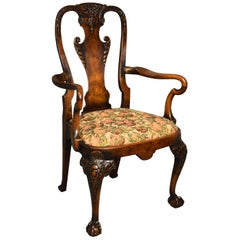 Early 20th Century Walnut Open Armchair in the Queen Ann Style of Fine Patina