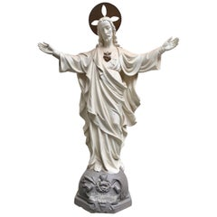 Belgian Carved Stone Baroque Revival Statue of Jesus, circa 1870