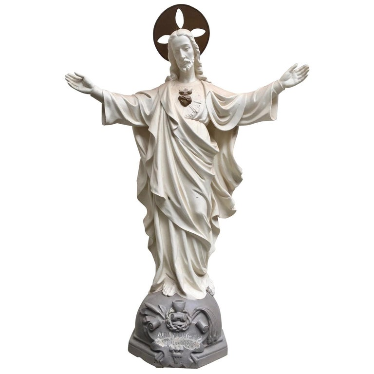 Belgian Carved Stone Baroque Revival Statue of Jesus, circa 1870 For Sale