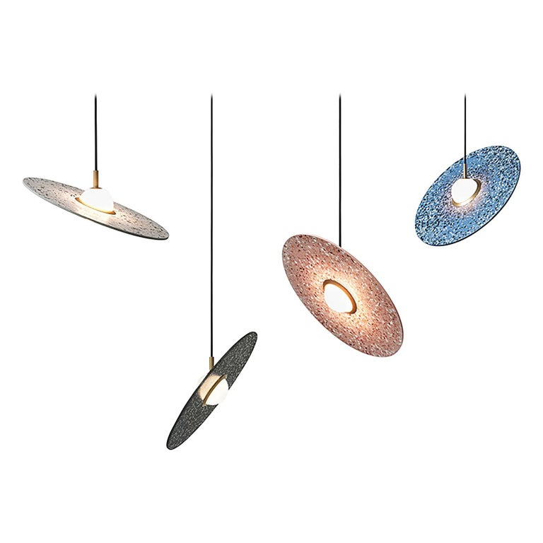 'Planet' Terrazzo Pendant Lamp by Bentu Design 'White, Black, Red or Blue' For Sale