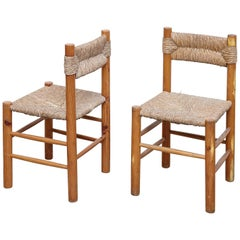Pair of Chairs After Charlotte Perriand, Wood Rattan, Mid Century Modern