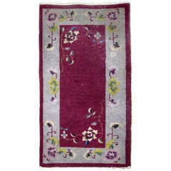 Handmade Antique Art Deco Chinese Rug, 1920s, 1B700