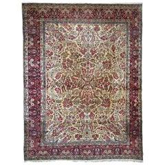 Handmade Antique Kerman Lavar Style Rug, 1900s, 1B701