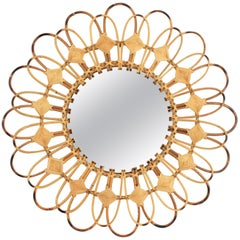 Rattan Sunburst Flower Shaped Mirror with Rhombus Decorations, Spain, 1960s