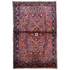 Handmade Antique Sarouk Style Rug, 1920s, 1B702