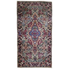 Handmade Antique Kerman Style Rug, 1910s, 1B705