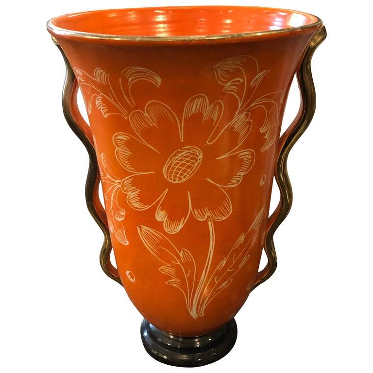 Mid-Century Modern Orange Ceramic Italian Vase, circa 1950 For Sale