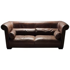 Industrial Brown Leather 3-Seat Sofa Model Alfred P. by Marco Milisich for Bax