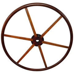 20th Century Handcrafted Dutch Teak Wooden Steering Wheel from a Ship