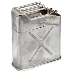 Silver Plated WW2 Novelty 'Jerrican' Table Lighter, French, 1940s