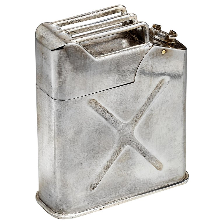 Silver Plated WW2 Novelty 'Jerrican' Table Lighter, French, 1940s For Sale