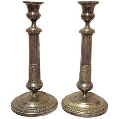 Paar Neoklassischer Versilberter Kerzenständer, 1830er