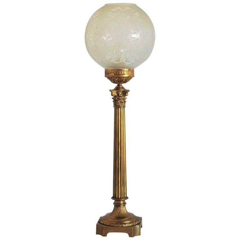 Ende des 19. Jahrhunderts hohen französischen Empire-Stil vergoldete Bronze Kerzenleuchter Tischleuchte 1
