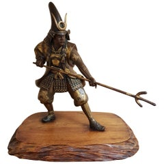 Meiji Period Myiao School Bronze Figure of Samurai, 1890s
