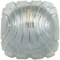 Petite Modernist Futuristic Ice Glass Flush Mount, 1980s