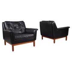 Pair of Danish Black Leather Club Lounge Chairs, circa 1950