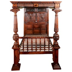Outstanding Antique Victorian Carved Oak and Marquetry Inlaid 4-Poster Bed