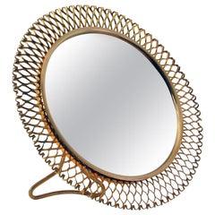 Midcentury German Brass Vanity Table Mirror Vereinigte Werkstätten Munich