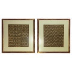 Pair of Framed Handwoven Faffia Cloth from Congo