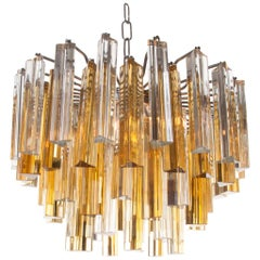 1960s Glass and Chrome Chandelier Attributed to Venini