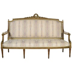 French Louis XVI Style Giltwood Three-Seat Settee