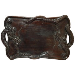 Qing Dynasty Chinese Hardwood Tray with Dragons, 1900s