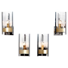 1970s Chrome, Brushed Brass and Glass Sconces by Gaetano Sciolari