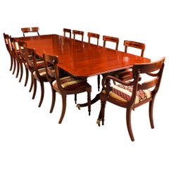 George III Regency Dining Table 19th Century with 12 Bespoke Dining Chairs