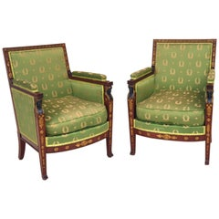 Pair of Neoclassical / Empire Armchairs, Mahogany, Paris, 1800s