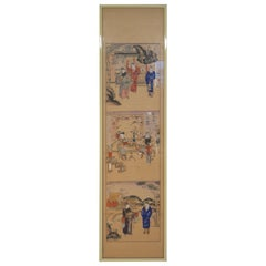 Late 19th Century Japanese Watercolor on Paper Panels Scenes from a Palace