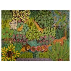 Fritz St. Jean Haitian Artist, Naivist School, Oil on Canvas