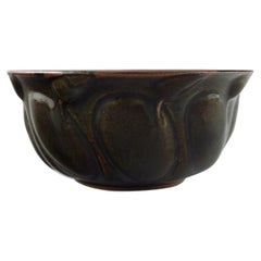 Axel Salto for Royal Copenhagen, Stoneware Bowl, Modeled in Organic Form