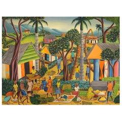 Alix Pierre, Haitian Artist, Naivist School, Oil on Canvas, Town Scene