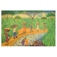Emile, Haitian Artist, Naivist School, Oil on Canvas, 1970s, Local Workers