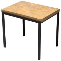 Florence Knoll Marble and Black Steel Side Table Small