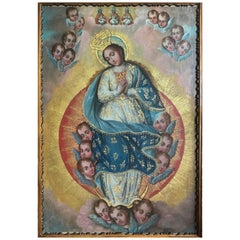 17th Century, Oil on Canvas with Gold Leaf, Virgin of the Little Angels