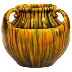 Awaji Pottery Art Deco Japanese Vintage Studio Yellow Vase Flambe Glaze