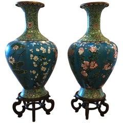 Massive Pair of Vintage Cloisonné Vases