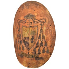 18th Century Italian Ecclesiastical Coat of Arms Painted on Convex Wrought Iron