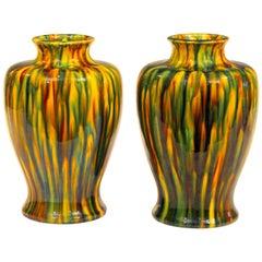 Pair of Awaji Pottery Art Deco Japanese Garniture Yellow Flambe Glaze Vases