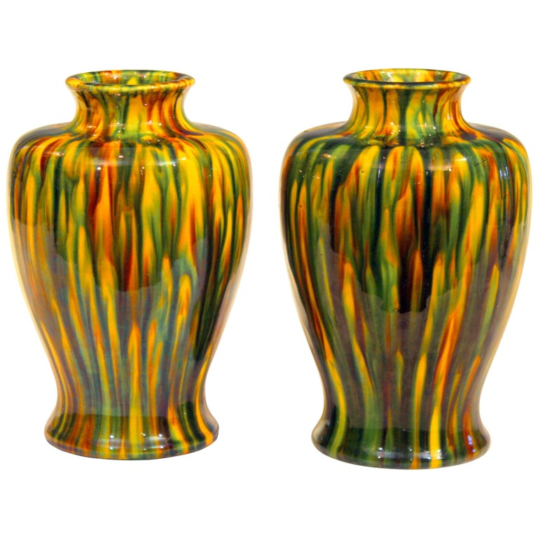 Pair of Awaji Pottery Art Deco Japanese Garniture Yellow Flambe Glaze Vases For Sale