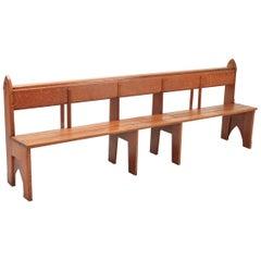 Mid-Century Modern Solid Oak Bench Wabi Sabi Style